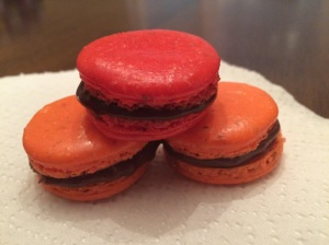 2nd time making Macarons. These are chocolate cherry and chocolate orange.